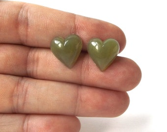 moss green heart post earrings stainless steel vintage 1960's resin womens fashion jewelry stud retro modern love bright simple fresh old