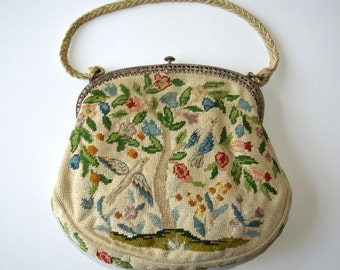 Edwardian petit point purse with doves in a garden