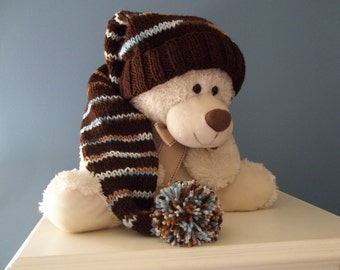 Long  Stocking Cap, Chocolate Retro, Brown Blues  28 inch Long Floppy Hat, Ready to Ship, Adult Kids Childrens Stocking Cap