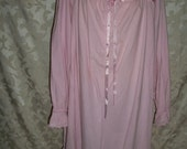 Vintage 90s Pink Cotton Babydoll Shabby Chic Nightgown Made in Pakistan Size 2x