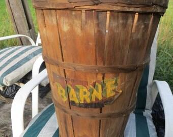 antique split wood antique  Basket, farm item  gathering basket  orchard basket, wood container, vegetable basket, bushel basket