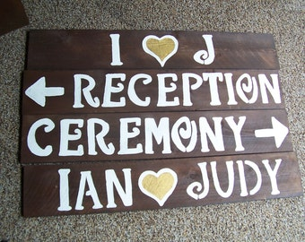 reception sign , rustic wedding signs , rustic wedding , wedding decor , wedding signage , ceremony sign, personalizied sign , bridal shower