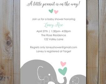 Elephant Baby Shower Printable Invitation / Little Peanut Pink and Mint / PRINTABLE  INVITATION / #40435