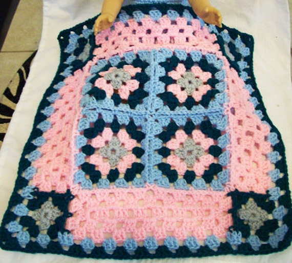 American Girl 18 inch Doll size, Crochet Granny Square Throw Afghan in pastel blue, pink, gray and dark teal