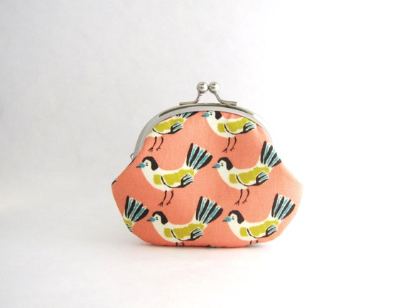 Frame Coin Purse- Birds on pink