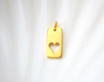 Gold Vermeil Heart Tag Charm - Gold over Sterling Silver - Add On - Love