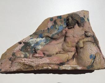Bas Relief Figure Sculpture Wall Tile Naked Man  Rennaisance Art after Raphael Mature Nude