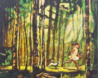 Untitled 4- Forest Painting Art Print, Nature Landscape, Green, Tree Art, Girl, Child, Dog, Whimsical, Mood, Beautiful Woods, Path, Sunlight