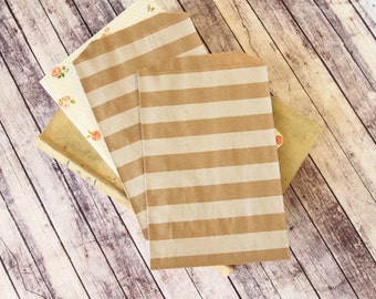 Horizontal STRIPE Kraft Brown Middy Bitty Bags medium paper bags