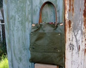Upcycled  Army Green Canvas Mini Tote - RESERVED FOR ERIKO