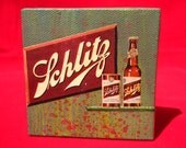 "schlitz - 3"" x 3"" original artwork  painting and vintage collage BEER"