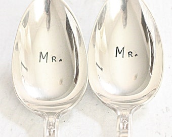 Mr. Mr. Same Sex Marriage Spoon Set 1919 -1973 Ambassador Rainbow Wedding Gifts for Him and Him