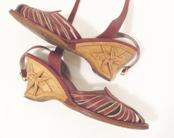 Vintage 70s Leather Sandals , wood carved heels . leather strappy shoes  size 6?