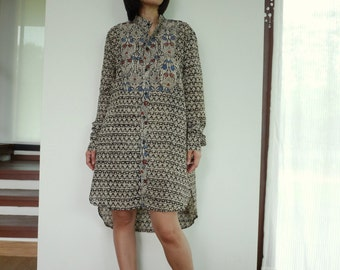 Stand Collar Printed Light Cotton Long Sleeve Shirt Tunic Women Tops Blouse - Size 4 To 14