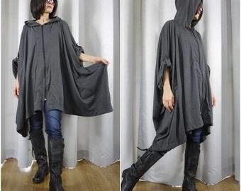 Chic Modern Casual Oversize Dark Heather Grey Cotton Jersey Zip Front Coat Jacket Poncho Hood Winter Fall Women Men Jacket Coat Size14 To 5X