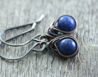 Lapis Earrings, Lazuli, Denim Blue, Rustic Southwestern Drop, Sterling Silver, Copper, Petite Earrings