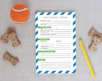 Pet Sitter Notepad | Diagonal Stripes Pattern | Personalized Colors | Pet Sitter Notes