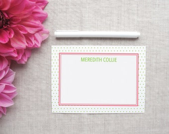 Personalized Stationery | Swiss Dot Pattern | Custom Colors | Set of 10 Flat Note Cards