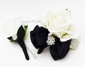 Black and White with Rhinestones Real Touch Rose Wedding Boutonniere Wedding Corsage Mother of the Bride Father Flowers Prom Corsage