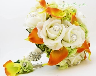 Autumn Wedding Bridal Bouquet Groom's Boutonniere White Real Touch Roses Calla Lily Fall Color Bouquet Pearl Rhinestone Accents
