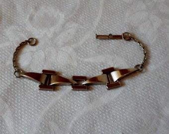 Vintage Silver Tone Machine Age or Mid-Century Bracelet