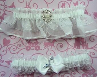 Fairytale Cinderella Wedding garters glass slipper Garter set