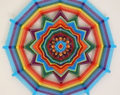 Rainbow Mist, 18 inch, 12-sided yarn mandala, in stock, ready to ship