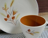 Vintage Autumn Harvest kitchenware farmhouse tea cups saucers gold brown leaf wheat pattern Rustic Wedding table setting