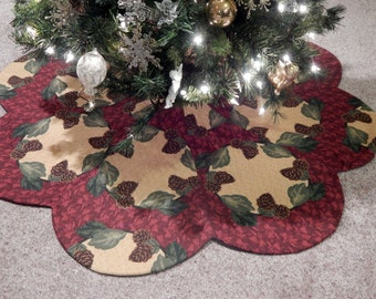 Pinecone & Holly Christmas Tree Skirt IN STOCK