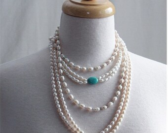 Necklace Freshwater Pearls,  Genuine Three Set Freshwater Pearl Necklace, Gifts for her, Holiday Gifts