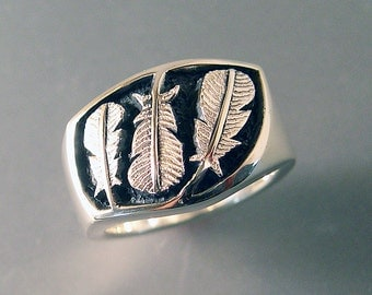 Feather Ring, Three Feather Ring, Mens Feather Ring, Sterling Silver