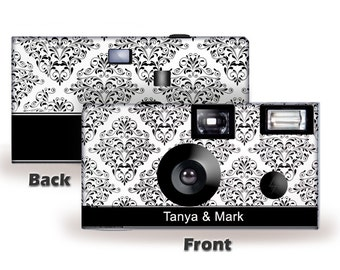 Damask Personalized Disposable Camera--5 cameras--FUJI high speed color film with flash-can be PERSONALIZED - wedding camera (50400)