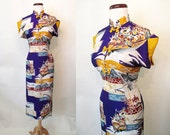 "Clearance Lovely 1950's Rayon Hawaiian Print Dress  by ""Hana Gift Shop Maui"" Rockabilly Pinup Pool Party Tiki Size-Medium-Large"