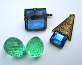 Antique Jewelry Supplies Victorian Cut Glass Pieces Glass Cufflink Pendant Beads Assemblage Jewelry Craft