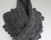 Outlander Inspired Dark Gray Color Ruffled Women Long Chunky Wrap Shawl Stole
