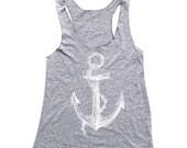 Anchor Tank Top - Heather Grey Tank Top - Nautical Shirt - Womens Tank Top - OCEAN -  Small, Medium, Large, XL