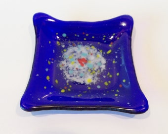 Cobalt BLue Modern Fused GLass Dish Splashes of Color a Tiny Heart Trinkets Candy Fun