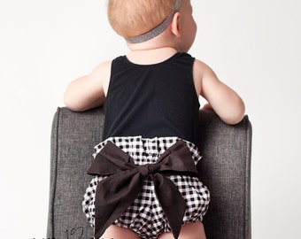 High Waist Bloomer | Black Gingham with Black Bow | Newborn to 24 Months | Baby Girl, Newborn Photo Prop, Diaper Cover