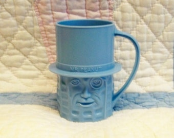 Original Mr. Peanut Blue Mug ~ 1950's Peanut Face with Hat ~ Four Inch Tall Handled Cup ~ Vintage Mint Condition