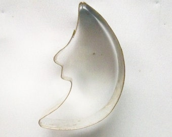 Moon With Face Cookie Cutter ~ Tin Silhouette Halloween Half Moon Shape Cookie Mold ~ Recipe