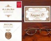 Save the Date Express - Hogwarts Express Ticket Inspired Save the Date SAMPLE (Price is not full order per unit price, see description)