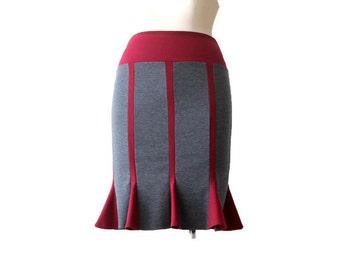 Pencil skirt, Everyday skirt, Handmade Skirt, Jersey Skirt, Grey Skirt, Burgundy Skirt, Knee Length Pencil Skirt