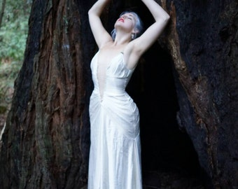 Hemp Silk Couture Wedding Gown with Swarovski Crystal and Freshwater Pearl Beaded Plunge Neckline