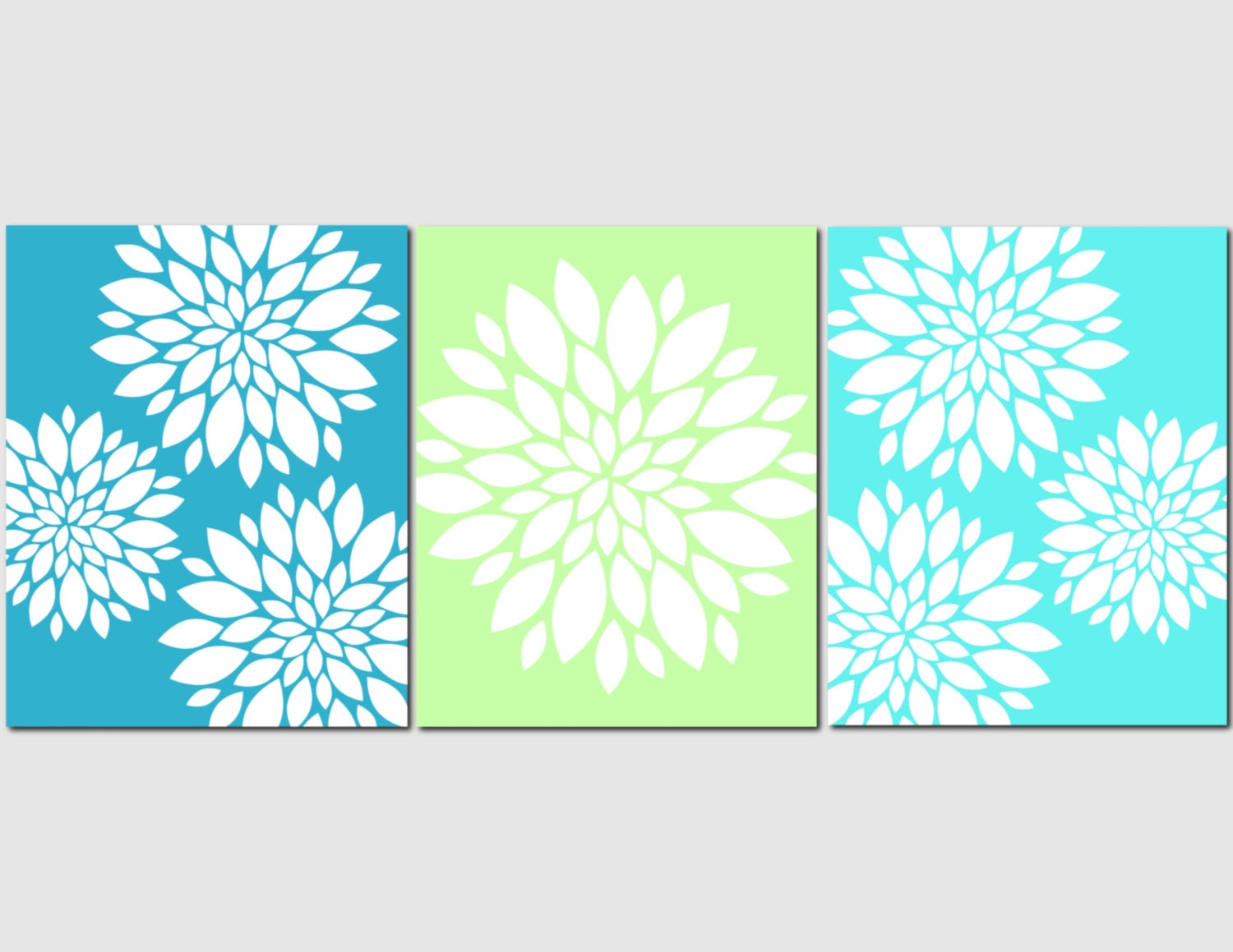 teal wall decor aqua teal lime green wall art home decor flower burst floral