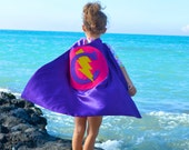 Superhero Cape Personalized Letter Lightening Bolt Christmas Hot Pink and Purple , 2T - 7T, super fan birthday gift fast delivery to Europe