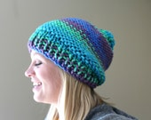 Chunky Knit Pom Pom Hat in Turquoise, Green, Purple, Blue, Big Knit Slouchy Pom Pom Hat, Chunky Knit Slouch Hat, Knit Winter Hat, Women Hat