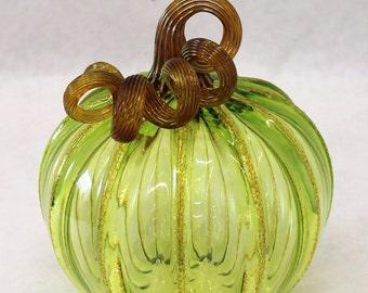 Hand Blown Glass Art Sculpture LIME Pumpkin Oneil 6079