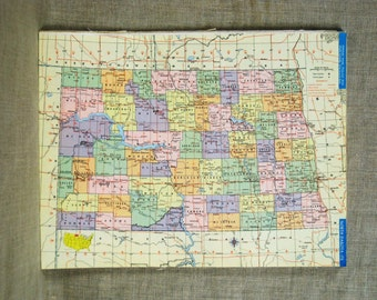 Vintage North Dakota Map, Northern Ohio, United States, Hammond Atlas, Colorful, Typography, Northwestern, Flickertail State, Geography