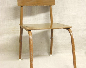 Vintage Child's School Desk Chair, Kids, Small Furniture, Seating, Mid-Century, Childrens Furniture, Metal and Wood, Industrial Look