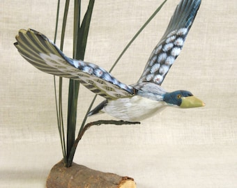 Vintage Duck Wood Carving, Hand Carved Bird Sculpture, Water Fowl, Flying Duck in Motion, Handmade, Rustic Decor, Bird Watchers,Hand Painted